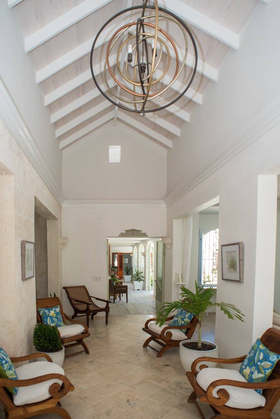 hallway with chairs in a villa to rent in Barbados