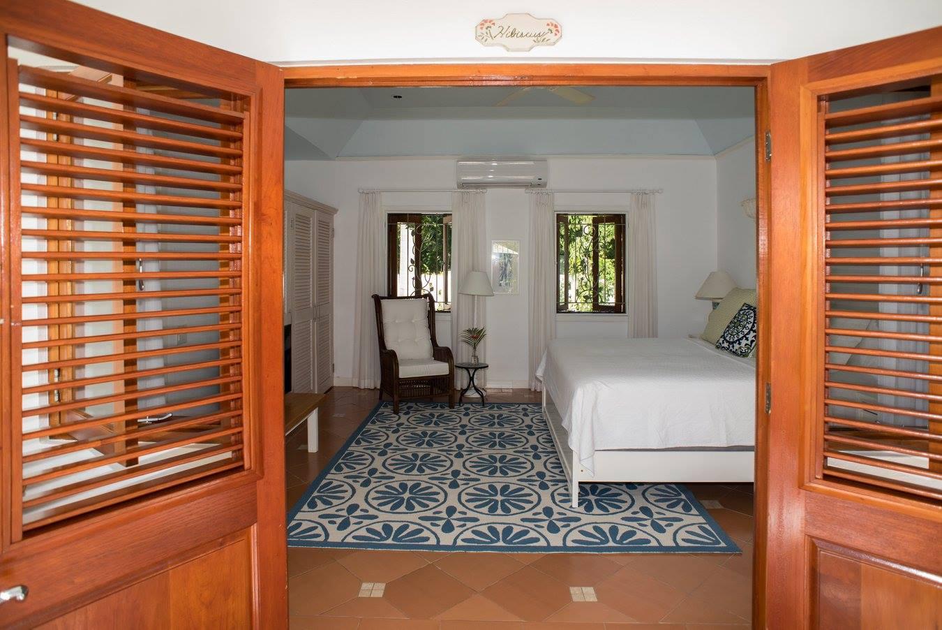doors open to the bedroom