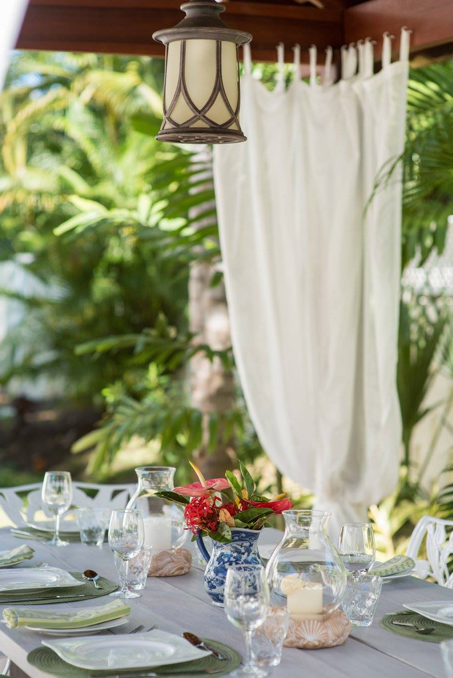 outside dining table of a villa in Barbados