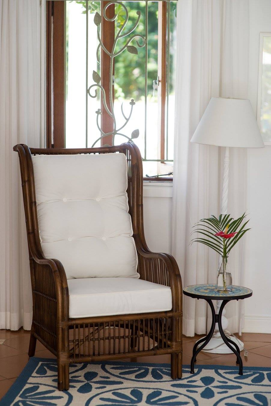 wooden chair with cushion on