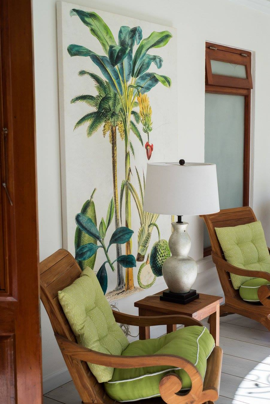 palm tree painting on a wall of a villa to rent in Barbados