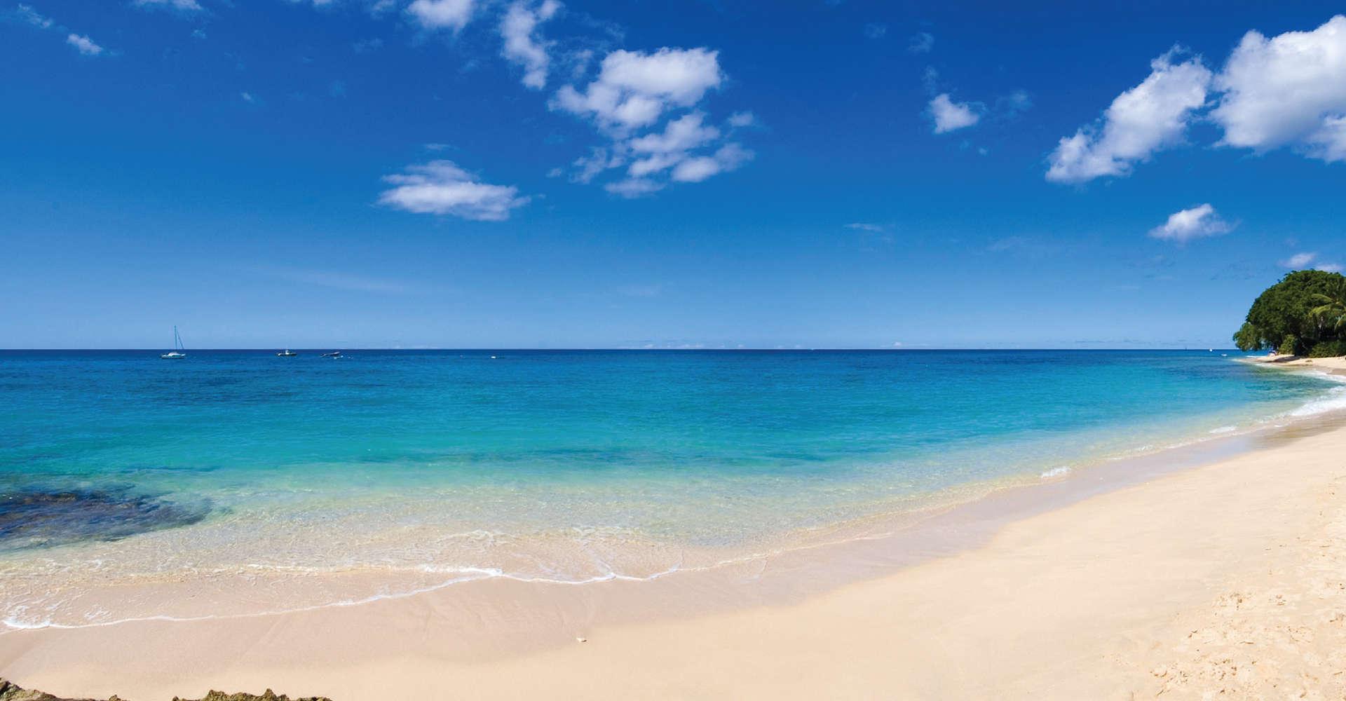 beach with bright blue sea